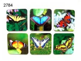 Vlinders onderzetter set van 6