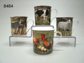 Set van 4 mokken 'boerderijdieren'