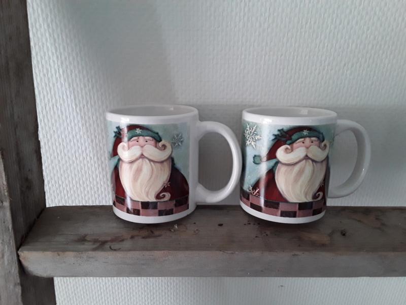 Kerstman mokken set van 2