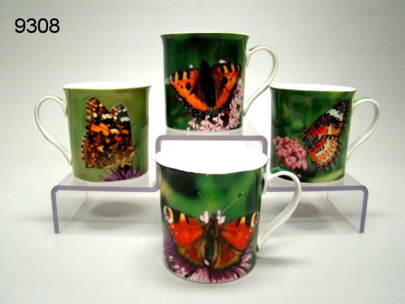 Set van 4 mokken 'Vlinders'