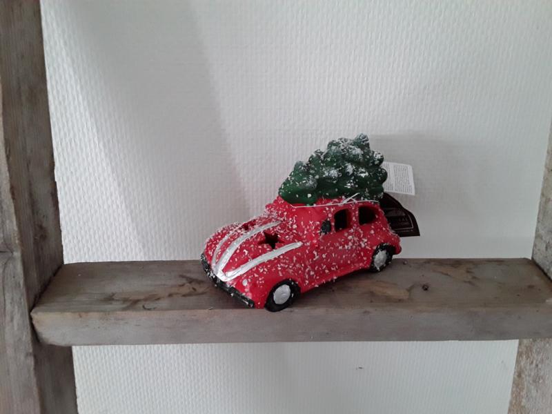 Kerst auto rood met lichtje