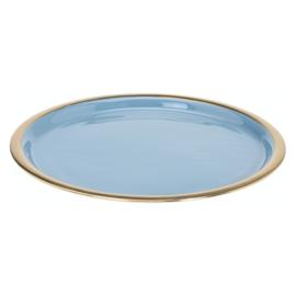 Onderbord of kaarsenplateau lichtblauw met gouden rand geëmailleerd metaal, 29 cm
