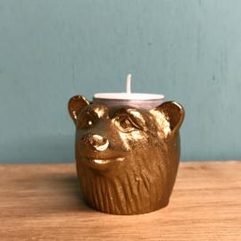 Waxinelichthouders goudkleurig met dierenkoppen: aap, beer, poema, leeuw en neushoorn
