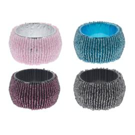 Servetringen kraaltjes, set van 4 stuks in roze, turquoise, antraciet en bordeaux