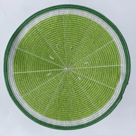 Set van 4 ronde placemats fruit: citroen, limoen, watermeloen, sinaasappel