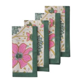 Bungalow katoenen servet 45 x 45 cm Sitapur Parrot, set van 4 stuks