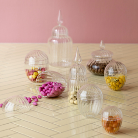 Bungalow set van twee glazen bonbonnières met deksel (GROOT)