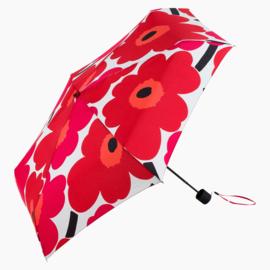 Marimekko opvouwbare paraplu in handtasformaat in zakje, Unikko rood  (let op, handmatige bediening)