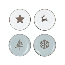Kerstservies porseleinen ontbijtbord 20 cm LOS in wit of misty mint: kerstboom, ster, kristal of hert