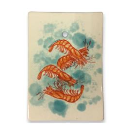 Frutos do Mar serveerplankje Garnalen, aardewerk met ophangleertje 25 x 17,5 cm