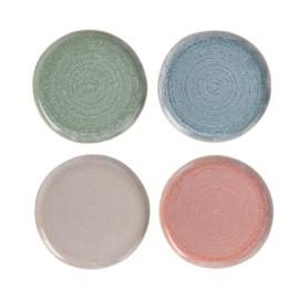 Siaki breezy ontbijtbord 21,5 cm aardewerk set van 4 stuks: beige, koraal, groen, blauw