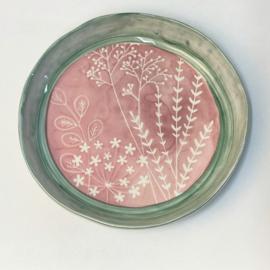 Bloom servies serveerschaal roze met groene rand 30 cm (A)