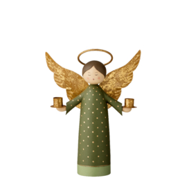Bungalow KERST engel kandelaar groen en goud voor twee kerstboomkaarsjes