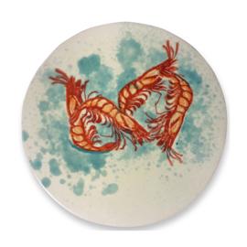 Frutos do Mar grote onderzetter met garnalen van aardewerk en kurk  24 cm