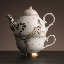 Yvonne Ellen tea for one set cheetah met vlinder
