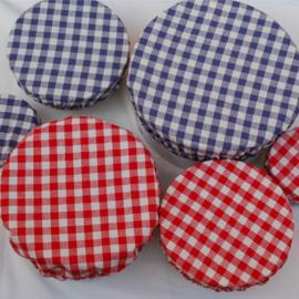 Bowlovers met blauw wit ruitje (3 stuks, 3 formaten)