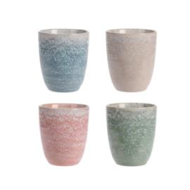 Siaki breezy kopje zonder oor 200 ml aardewerk set van 4 stuks: beige, koraal, groen, blauw
