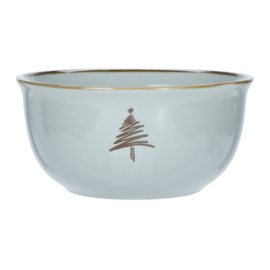 Kerstservies porseleinen schaaltje 450 ml LOS in wit of misty mint: kerstboom, ster, kristal of hert
