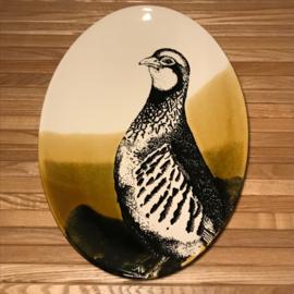 Hunting servies ovalen schaal  30 x 21 cm patrijs