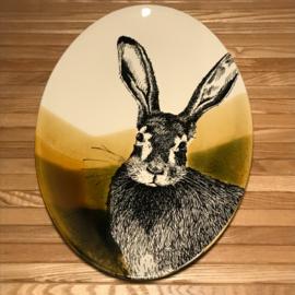 Hunting servies ovalen schaal  30 x 21 cm haas