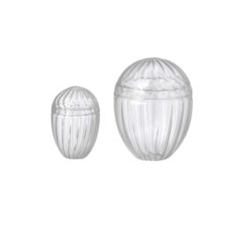 Bungalow set van twee glazen bonbonnières met deksel (KLEIN)