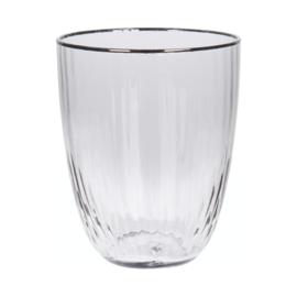 Set van 6 waterglazen Smoke geribbeld glas met zilveren randje, 350 ml