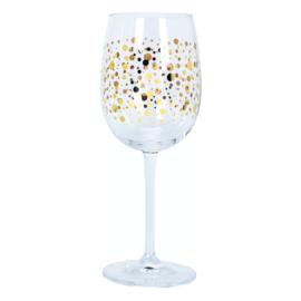 Wijnglas met gouden bolletjes 480 ml, doos met 6 stuks
