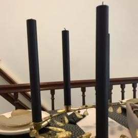 Kaars zwart voor in ovalen kandelaar, 29 x 2,5 cm