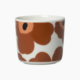 Marimekko Oiva Unikko maroon and coral set of two cups without handle, 2 dl