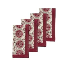 Bungalow katoenen servet 45 x 45 cm Kamal Ruby, set van 4 stuks