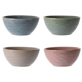 Siaki breezy kom 15 cm aardewerk set van 4 stuks: beige, koraal, groen, blauw