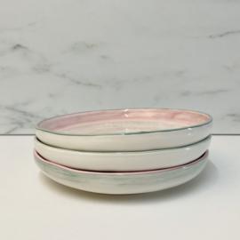 Bloom servies gebaksbordje grijs met roze rand (B) 18,5 cm