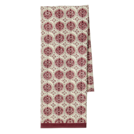 Bungalow Kamal Ruby katoenen tafelkleed met blokprint in gebroken wit, donkerrood en roze 150 x 250 cm