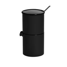 Loveramics Bond zwart stapelbare melk en suiker set met lepeltje