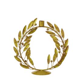 Bungalow KERST gouden kandelaar 'lauwerkrans' vertikaal 26 cm hoogte