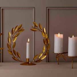 Bungalow KERST gouden kandelaar 'lauwerkrans' vertikaal Ø 30 cm met lage kaars
