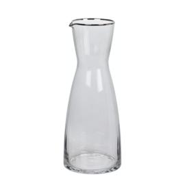 Karaf Smoke geribbeld glas met zilveren randje, 1 liter