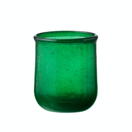 Bungalow belletjesglas groen 110 ml / waxinelichthouder