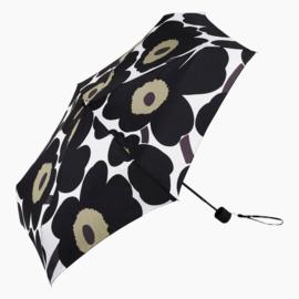 Marimekko opvouwbare paraplu in handtasformaat in zakje, Unikko zwart (let op, handmatige bediening)