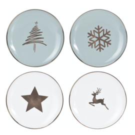 Kerstservies porseleinen dinerbord 26 cm LOS in wit of misty mint: kerstboom, ster, kristal of hert
