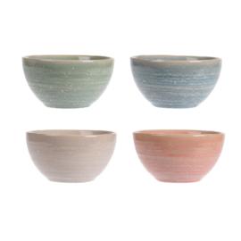 Siaki breezy schaaltje 11 cm aardewerk set van 4 stuks: beige, koraal, groen, blauw