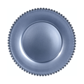 Onderbord kristalglas met parelrand in metallic donkerblauw, zilver, brons of petrol