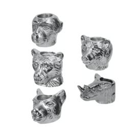 Kaarsenstandaard zilverkleurig met dierenkoppen: aap, beer, poema, leeuw en neushoorn