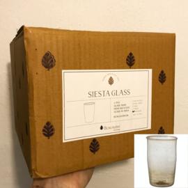 Bungalow belletjesglas smoke 410 ml, set van 4 in een doosje