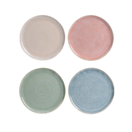 Siaki breezy dinerbord 27 cm aardewerk set van 4 stuks: beige, koraal, groen, blauw