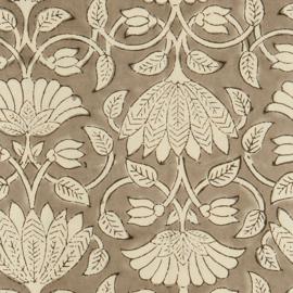 Bungalow Savannah Ash katoenen tafelkleed met blokprint in gebroken wit met grijs 150 x 250 cm