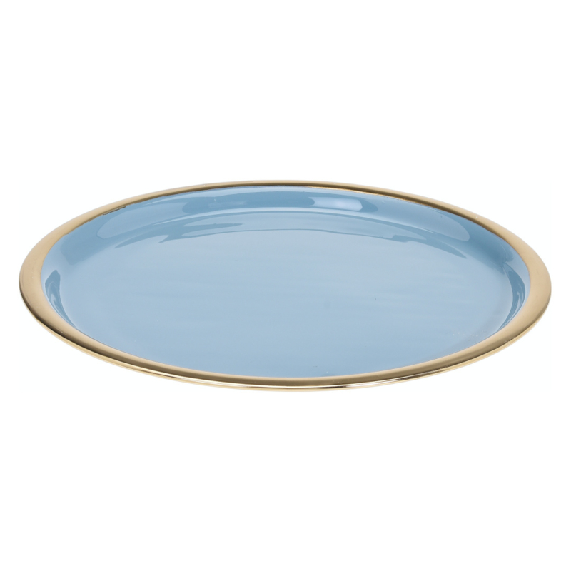 Dienblad ø 29 cm lichtblauw met gouden rand geëmailleerd metaal, 29 cm