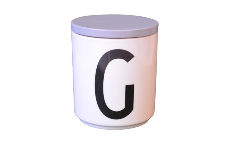 Design Letters grijs deksel voor porseleinen mok