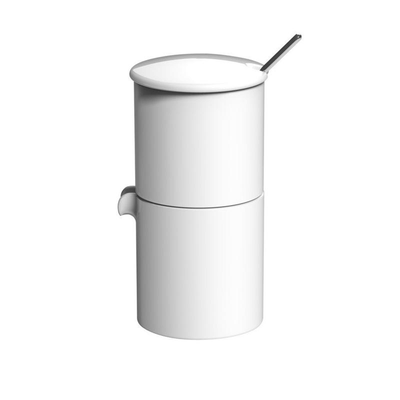 Loveramics Bond wit stapelbare melk en suiker set met lepeltje