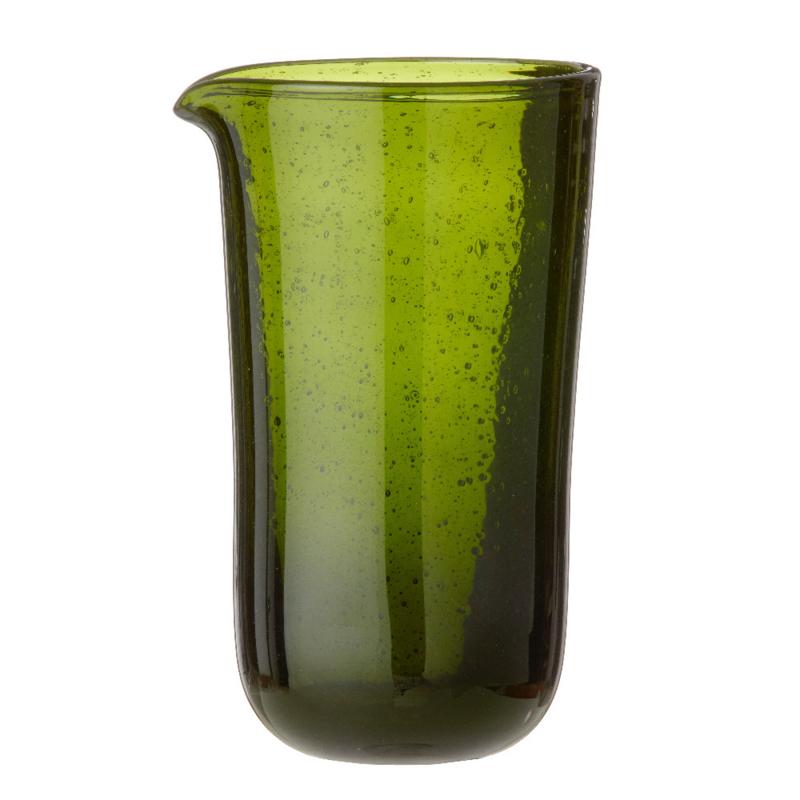 Bungalow glazen karaf Salon Seaweed groen belletjesglas hoogte 20 cm